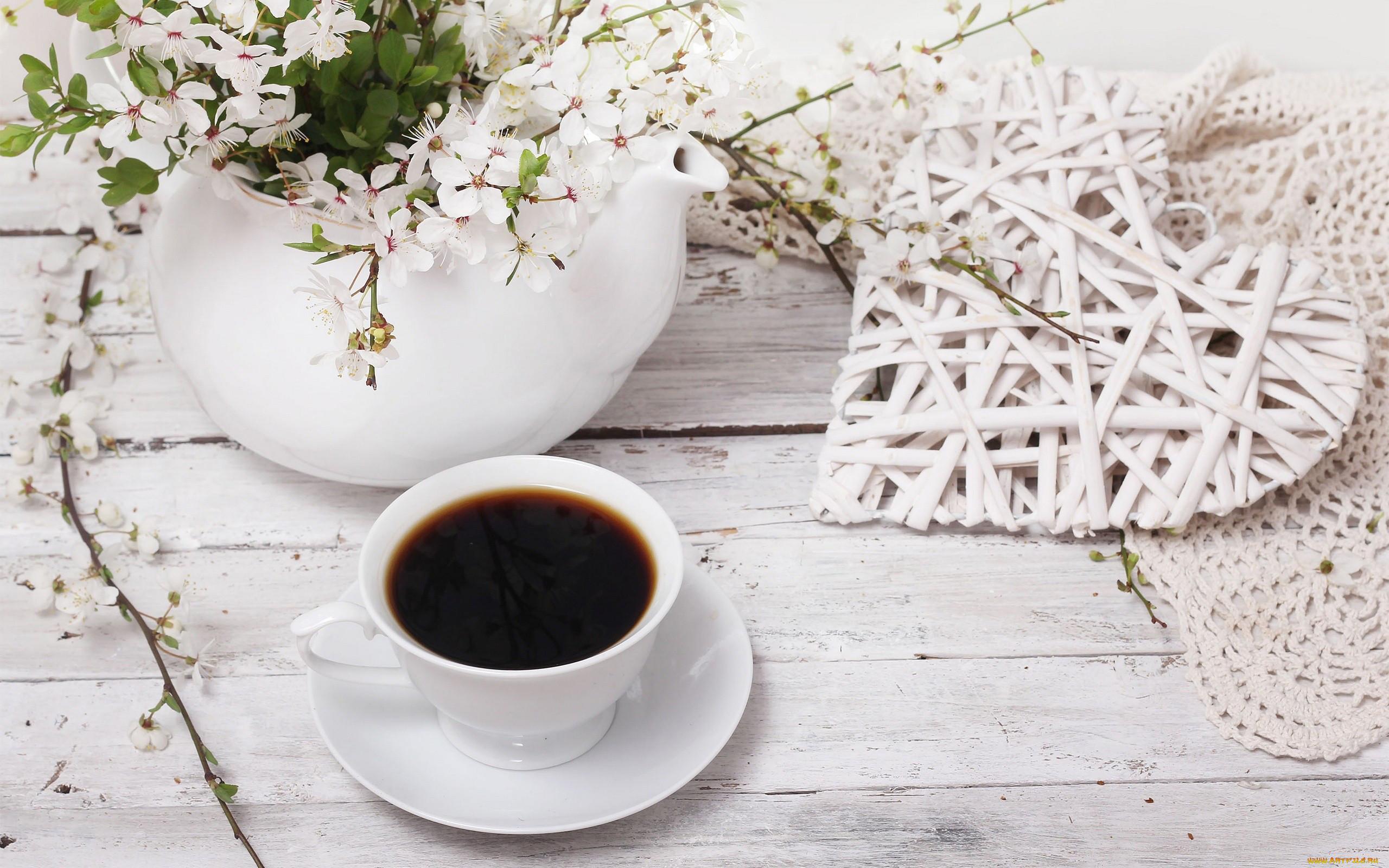 картинки на рабочий стол кофе и цветы
